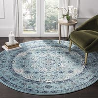 Safavieh Evoke Vintage Oriental Light and Dark Blue Distressed Rug - 6'7 Round
