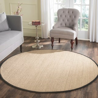 Safavieh Casual Natural Fiber Natural Maize/ Black Sisal Area Rug (6' Round)