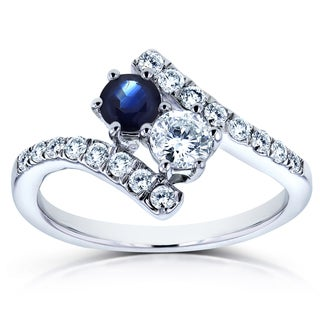 Annello by Kobelli Two Collection 14k White Gold 1ct TCW Sapphire and Diamond 2-Stone Curved Ring