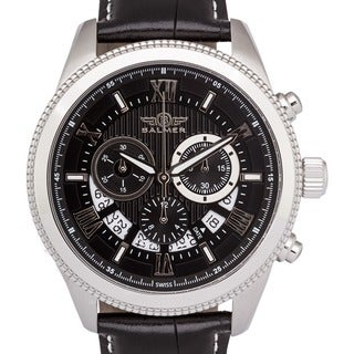 Men's Balmer E-Type Racing-style Swiss Chronograph Milled Bezel Watch