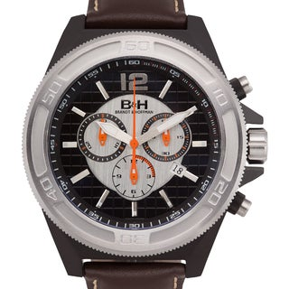Brandt & Hoffman Priestly Men's Swiss Chronograph Watch with Genuine Leather Strap and Cubic Textured Dial