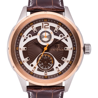 Buech & Boilat Coureur Men's 43 mm Multi-level Textured Dial Watch with Date Plus 24 hour Time Indicator