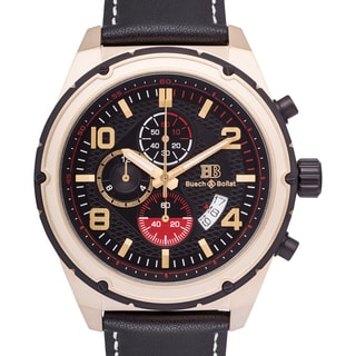 Buech & Boilat Devon Men's Quartz Chronograph Watch with Textured Dial and Multi-level Bezel