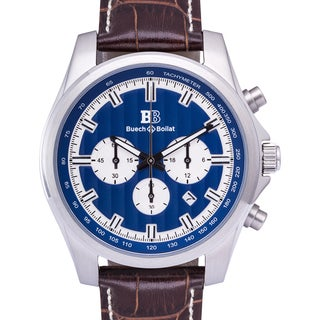 Buech & Boilat Grand Boucle Quartz Men's Chronograph Watch 20 mm Genuine Leather Strap