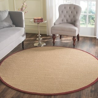 Safavieh Casual Natural Fiber Handmade Maize / Burgundy Sisal Rug (6' x 6' Round)