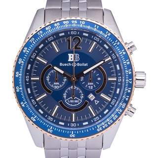 Buech & Boilat Torino Men's Quartz Chronograph Stainless Steel Watch with Multi-link Bracelet