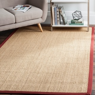 Safavieh Casual Natural Fiber Natural Maize/ Burgundy Sisal Area Rug (6' x 6')