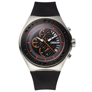 Force One Venture Men's Chronograph Sport Watch with Quartz IP Plated Bezel and Silicone Strap