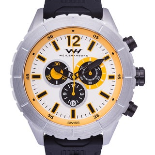 Weil & Harburg Swift Men's Swiss Chronograph Watch Stainless Steel Case 23 mm Silicone Strap