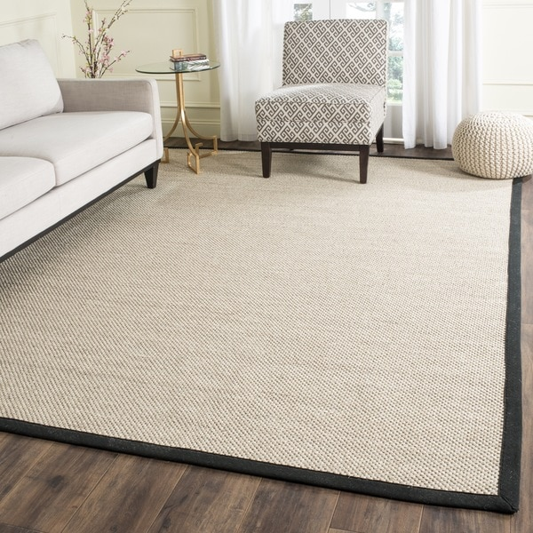Safavieh Natural Fiber Pacific Marble/ Black Sisal Rug - 6' x 6' Square