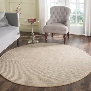 Safavieh Casual Natural Fiber Marble/ Ivory Linen Sisal Area Rug (6' Round)
