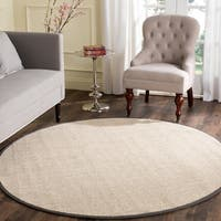 Safavieh Casual Natural Fiber Marble/ Dark Grey Sisal Area Rug - 6' Round