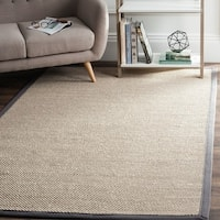 Safavieh Casual Natural Fiber Marble/ Dark Grey Sisal Area Rug (6' Square)