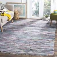 Safavieh Hand-woven Rag Rug Aqua/ Multi Cotton Rug - 4' x 4' Square