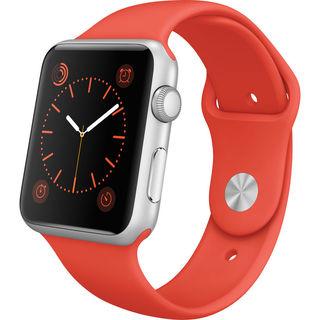 Apple Watch Sport 42mm Silver Aluminum Smartwatch with Orange Band