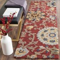 "Safavieh Handmade Blossom Red/ Multi Wool Rug - 2'3"" x 8'"