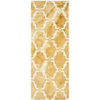 Safavieh Handmade Dip Dye Watercolor Vintage Gold/ Ivory Wool Rug (2'3 x 6')
