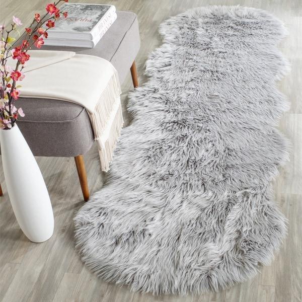 Safavieh Faux Sheepskin Rug: Safavieh Handmade Faux Sheepskin Light Grey Japanese