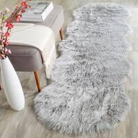 Safavieh Handmade Faux Sheepskin Light Grey Japanese Acrylic Rug (2'6 x 8')