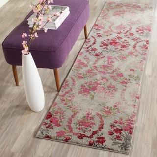 Safavieh Monaco Vintage Floral Bouquet Ivory / Pink Distressed Rug (2'2 x 8')