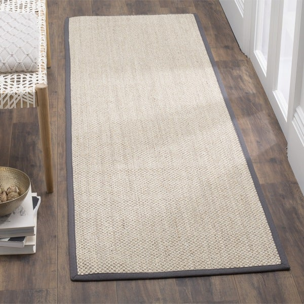 Safavieh Casual Natural Fiber Marble/ Dark Grey Sisal Runner Rug (2'6 x 10') - 2'6 x 10'