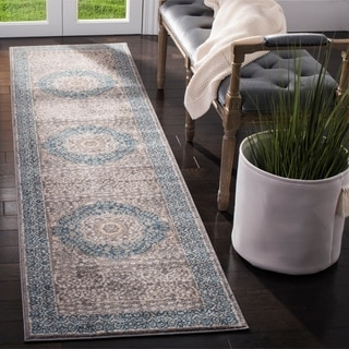 Safavieh Sofia Vintage Medallion Light Grey / Blue Distressed Rug (2'2 x 8')