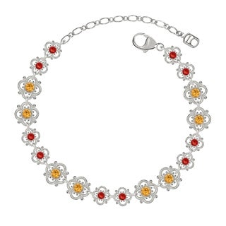 Lucia Costin Sterling Silver Yellow/ Red Crystal Bracelet with Flowers