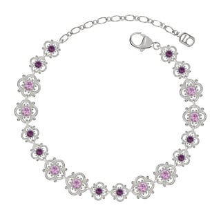 Lucia Costin Sterling Silver Lilac/ Violet Crystal Bracelet with Delicate Flowers