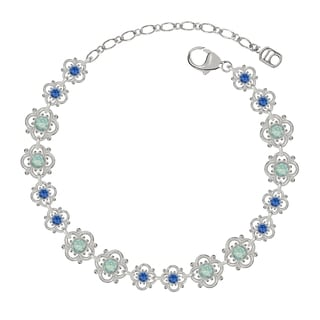 Lucia Costin Sterling Silver Mint Blue/ Blue Crystal Bracelet with Flowers
