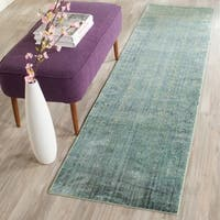 "Safavieh Mystique Watercolor Green/ Multi Silky Rug - 2'3"" x 8'"