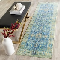 Safavieh Valencia Blue/ Multi Distressed Silky Polyester Rug - 2'3 x 8'