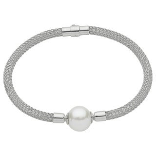 Pearls For You Sterling Silver White Freshwater Pearl Mesh Solitaire Bracelet