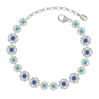 Lucia Costin Sterling Silver Blue/ Turquoise Crystal Bracelet with Fancy Dots