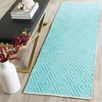 Safavieh Hand-Woven Montauk Turquoise/ Ivory Cotton Rug - 2'3 x 7'