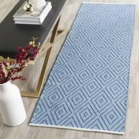 Safavieh Hand-Woven Montauk Blue/ Ivory Cotton Rug - 2'3 x 7'