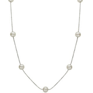Pearls For You White Freshwater Pearl Station Necklace (6-6.5 mm)