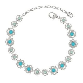 Lucia Costin Sterling Silver Turquoise/ Mint Blue Crystal Bracelet with Flowers