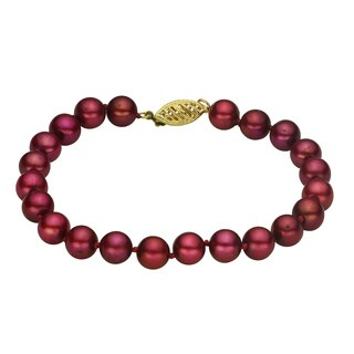 Pearls For You 14k Yellow Gold Dyed Cranberry Freshwater Pearl Bracelet