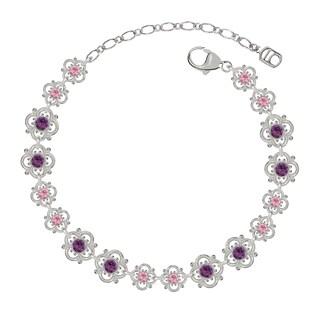 Lucia Costin Sterling Silver Light Pink/ Violet Crystal Bracelet with Flowers