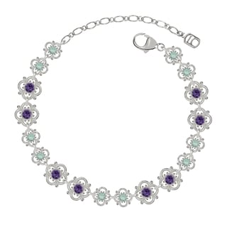 Lucia Costin Sterling Silver Mint Blue/ Violet Crystal Bracelet with Flowers