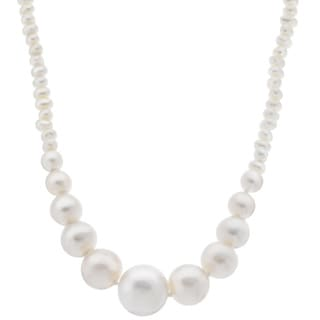 Pearls For You Sterling Silver White Graduated Freshwater Pearl Necklace