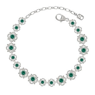 Lucia Costin Sterling Silver Green Crystal Bracelet with Flowers