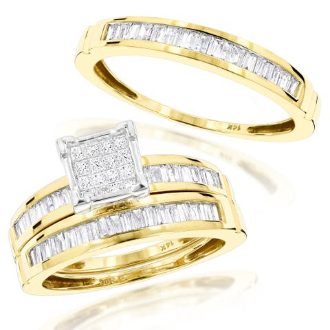 Luxurman 14k Gold 1 3/5ct Trio Diamond Engagement Ring Set