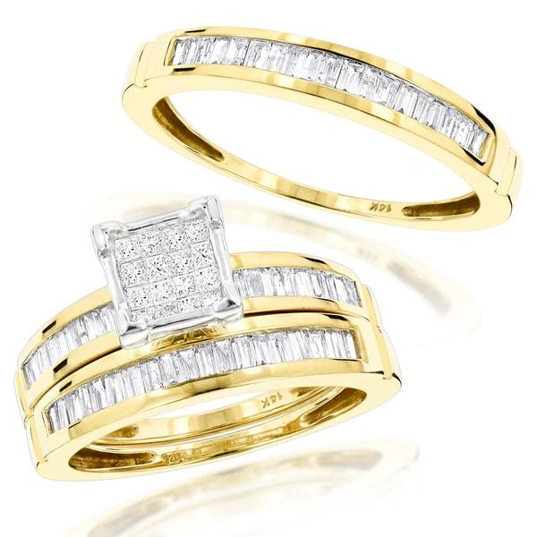 Shop Luxurman 14k Gold 1 3/5ct Trio Diamond Engagement