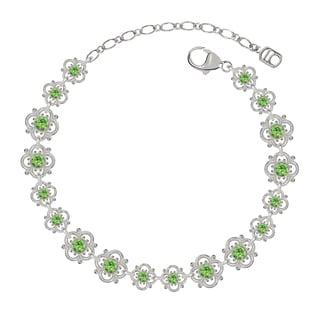 Lucia Costin Sterling Silver Light Green Crystal Bracelet