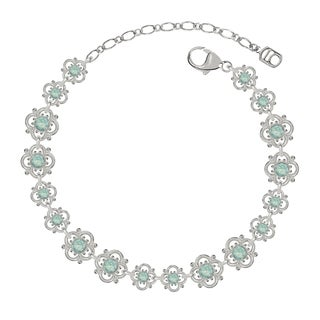 Lucia Costin Sterling Silver Mint Blue Crystal Bracelet with Flowers