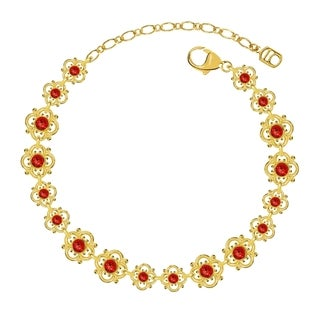 Lucia Costin Sterling Silver Red Crystal Bracelet with Flowers