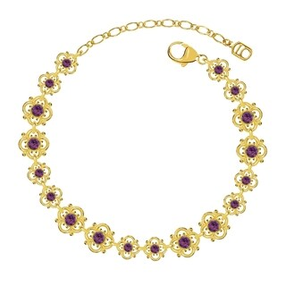 Lucia Costin Sterling Silver Violet Crystal Bracelet with Lovely Flowers
