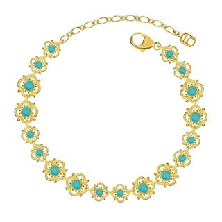 Lucia Costin Sterling Silver Turquoise Crystal Bracelet with Flowers|https://ak1.ostkcdn.com/images/products/11042066/P18055136.jpg?impolicy=medium