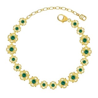 Lucia Costin Sterling Silver Green Crystal Bracelet with Flowers|https://ak1.ostkcdn.com/images/products/11042069/P18055139.jpg?impolicy=medium